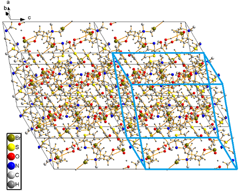 Crystallographic unit cell within a whole crystal of tiotropium bromide monohydrate